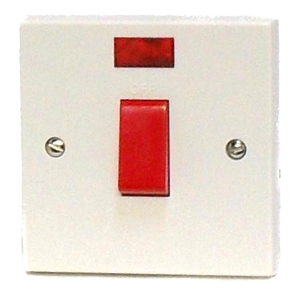 45A DP Cooker Switch on 1G Plate + Neon