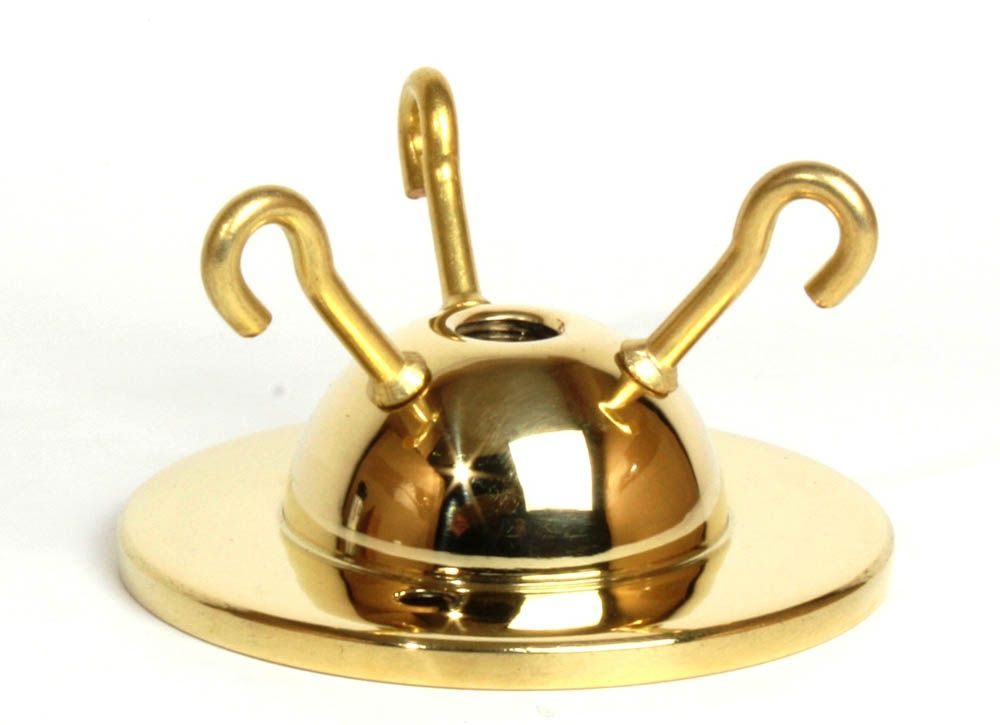 3-hook Ceiling Plate Brass 2.75 inch
