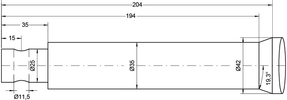 MANIP TINE-STRAIGHT PIN FIT 1000MM 74747