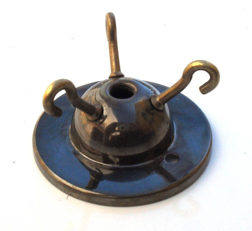 3-hook Ceiling Plate Antique Brass 2.75 inch