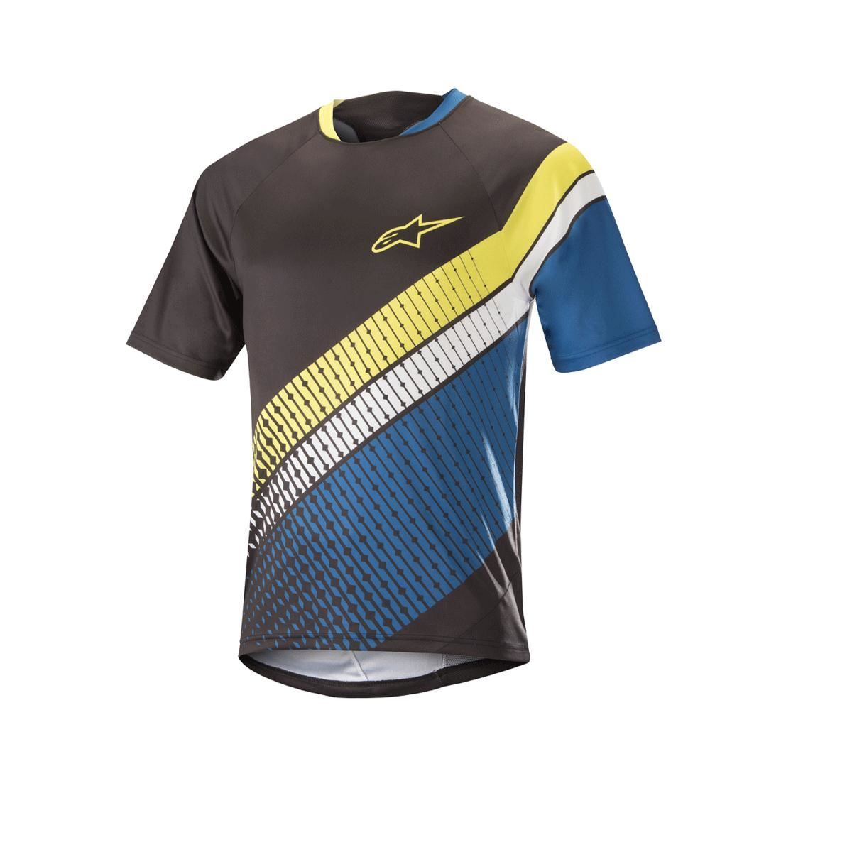 Alpinestars Predator Short Sleeve Jersey 2018: Black/Royal Blue/Acid Yellow M