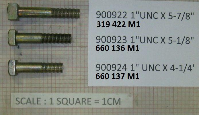"""Massey Ferguson BOLT 1"""" UNC X 5 1/8"""" LONG Part No:660 136 M1"""