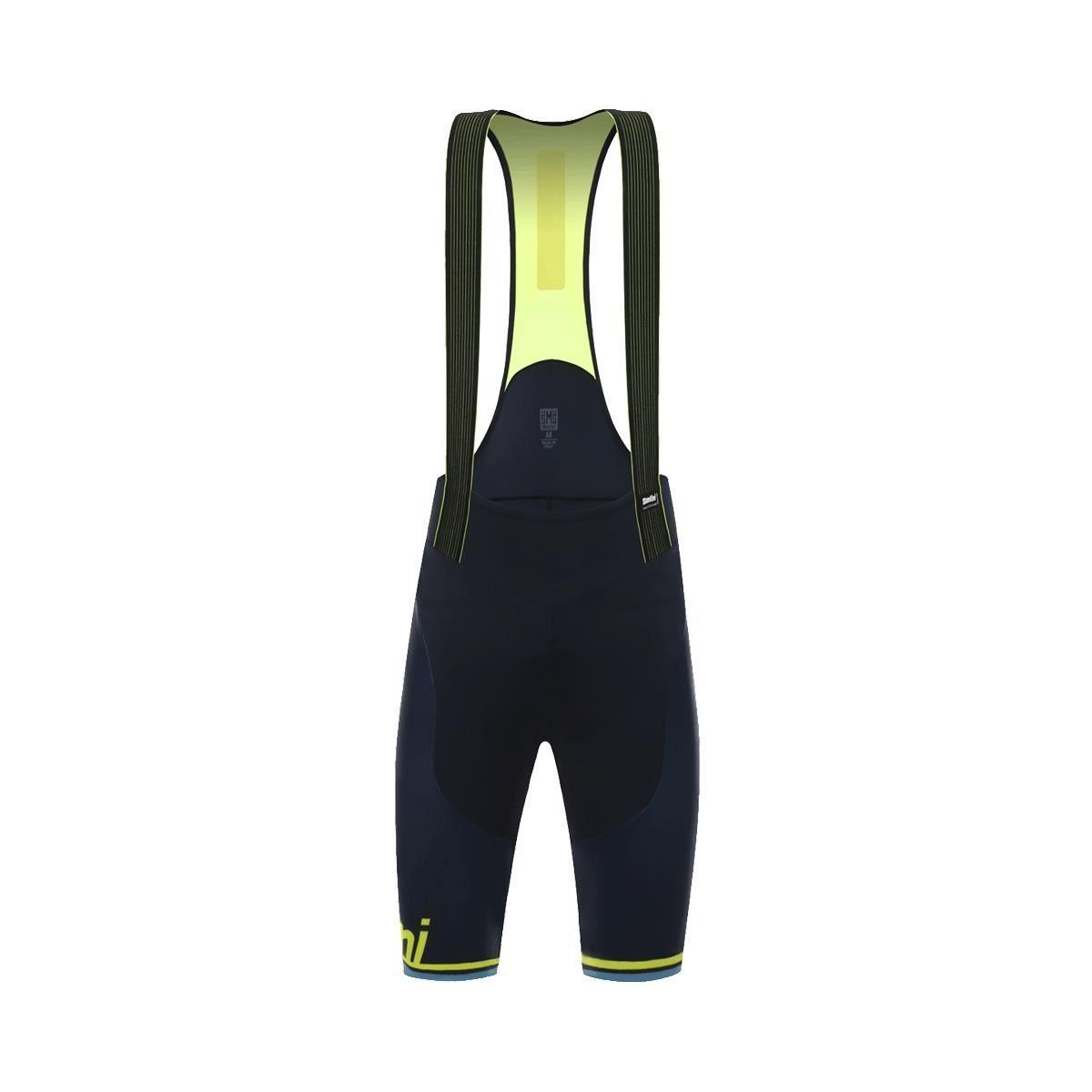 Santini Tono 2.0 Bib Shorts Nat Pad 2017: Navy/Yellow M