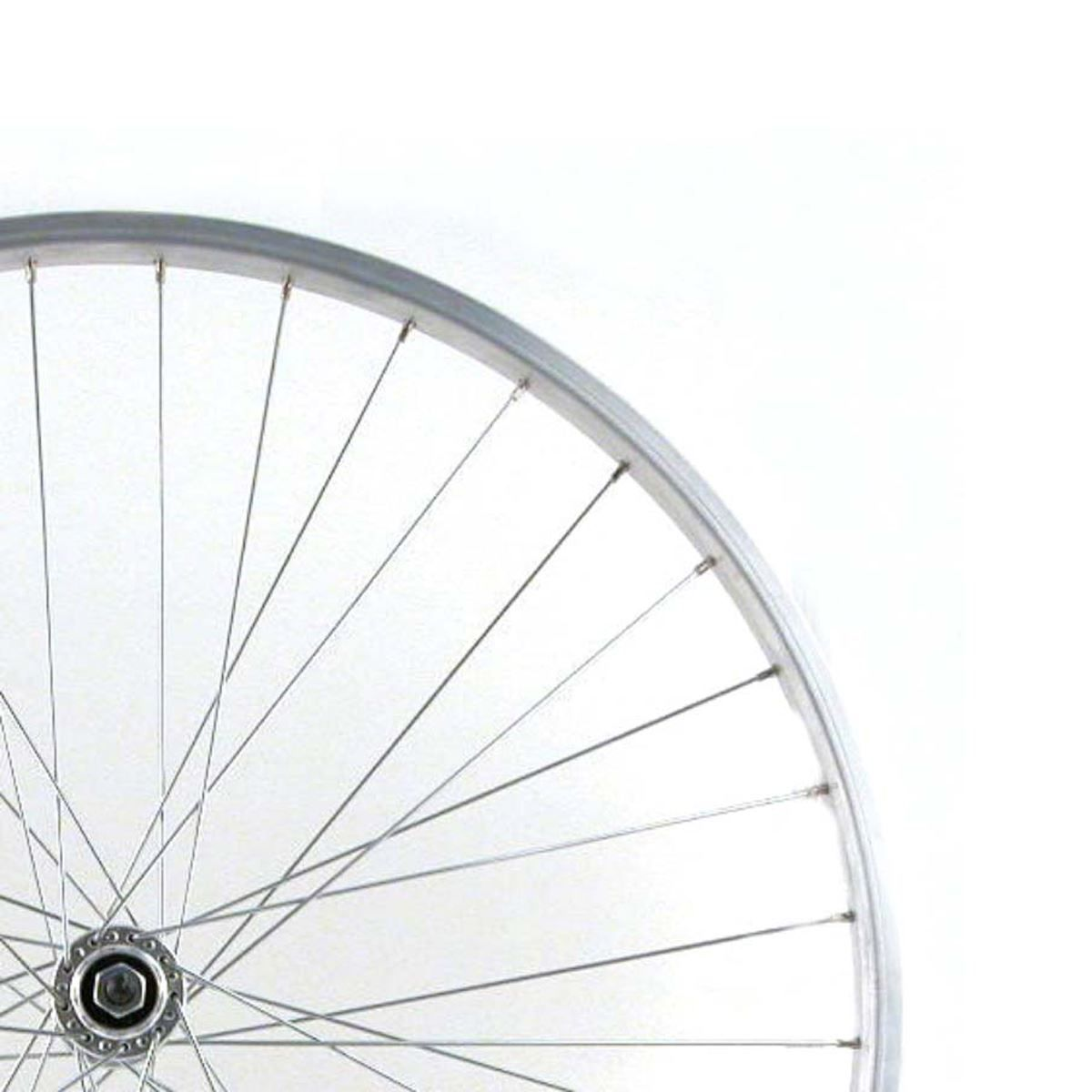 Wilkinson 27X1 1/4 Rear Wheel - Silver Single Wall - Solid Axle Screw On Hub Silver Spokes, 36 Hole: Silver 27 X 1-1/4