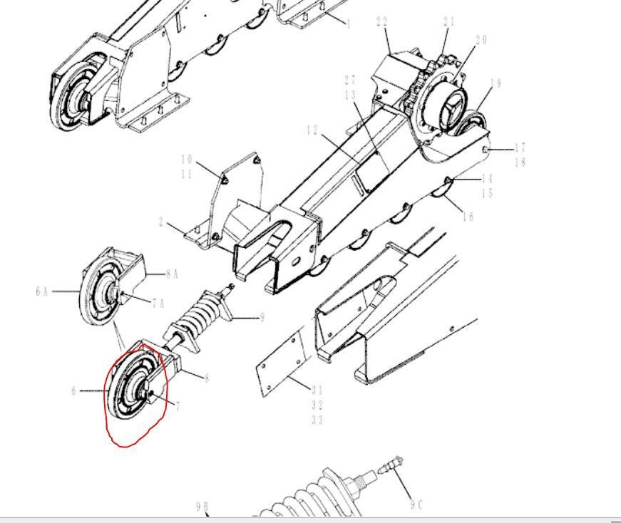 New Holland C185 Skid Steer Loader Front Idler Wheel