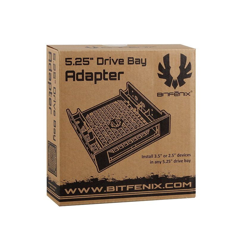 """BITFENIX 5.25"""" TO 3.5"""" EXTERNAL DRIVE BAY ADAPTER WITH SOFTTOUCH - BLACK BFA-ADPT-525KK-RP"""