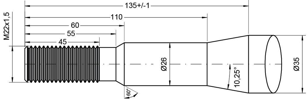 FAUCHEUX TINE-STRAIGHT 1100MM M22 21503