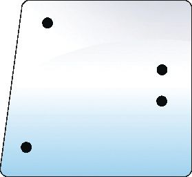 LAMBORGHINI GLASS-SIDE-LH&RH-4 HOLES 100727