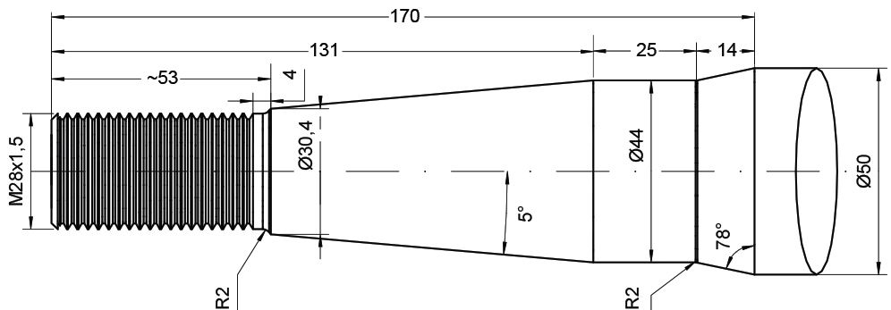 REDROCK TINE-STRAIGHT ROUND 815MM M28 22892