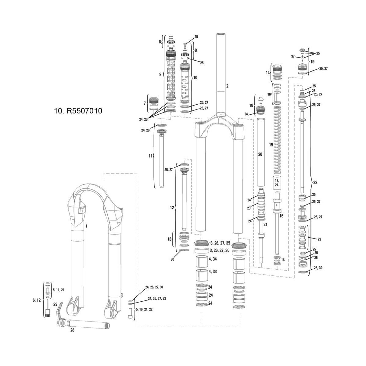 Rockshox Compression Damper Argyle Rct 2011 Moco Crown Adj Int Gate(Alum Uppers Only):