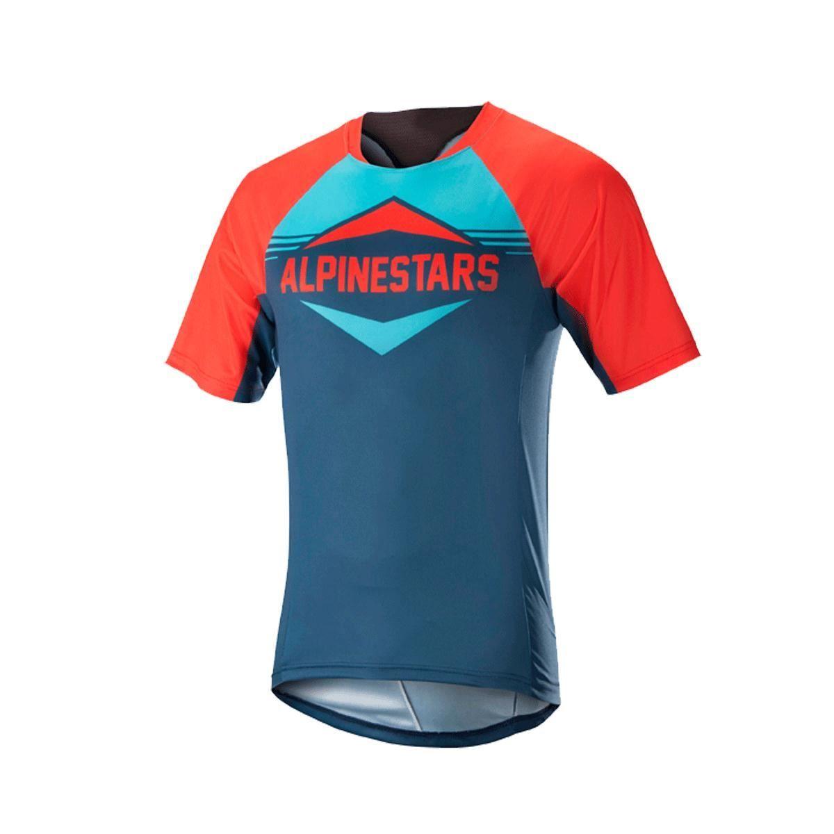 Alpinestars Mesa Short Sleeve Jersey 2018: Energy Orange/Poseidon Blue M