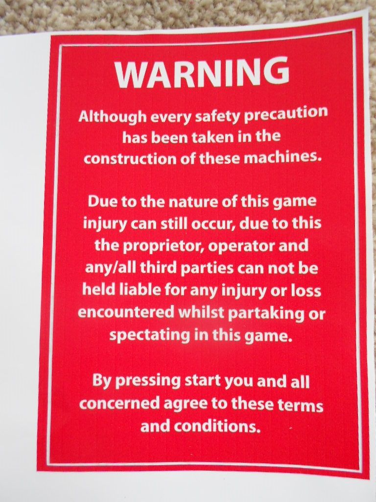 BOXER BOXING GAMING MACHINE DISCLAIMER WARNING SAFETY PRECAUTION STICKER