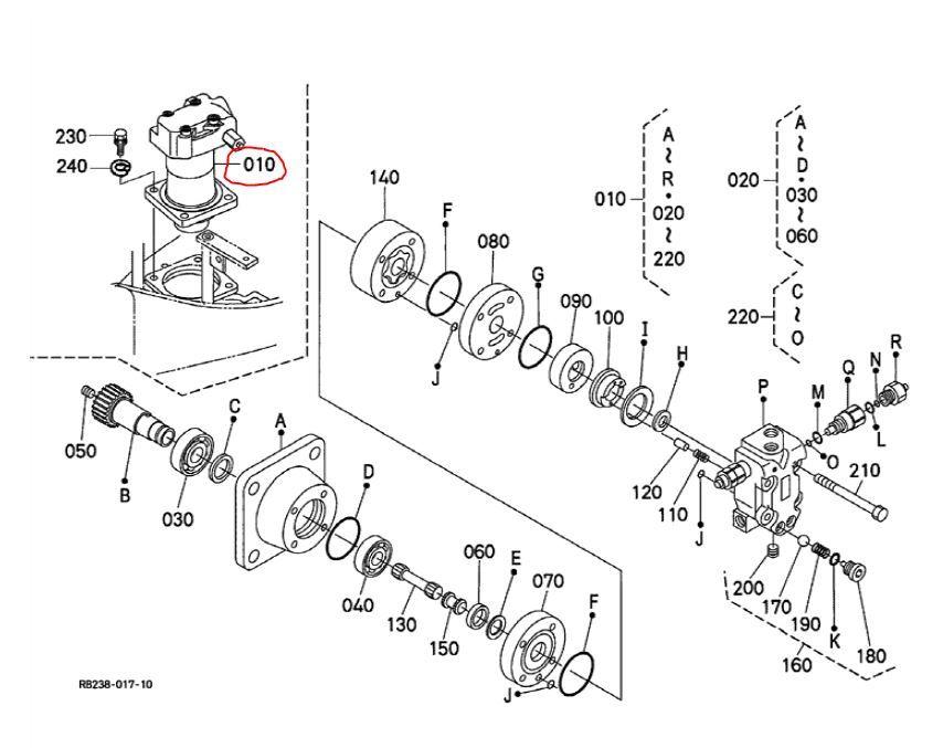 Kubota KX63-3 Mini Excavator Slew motor assembly