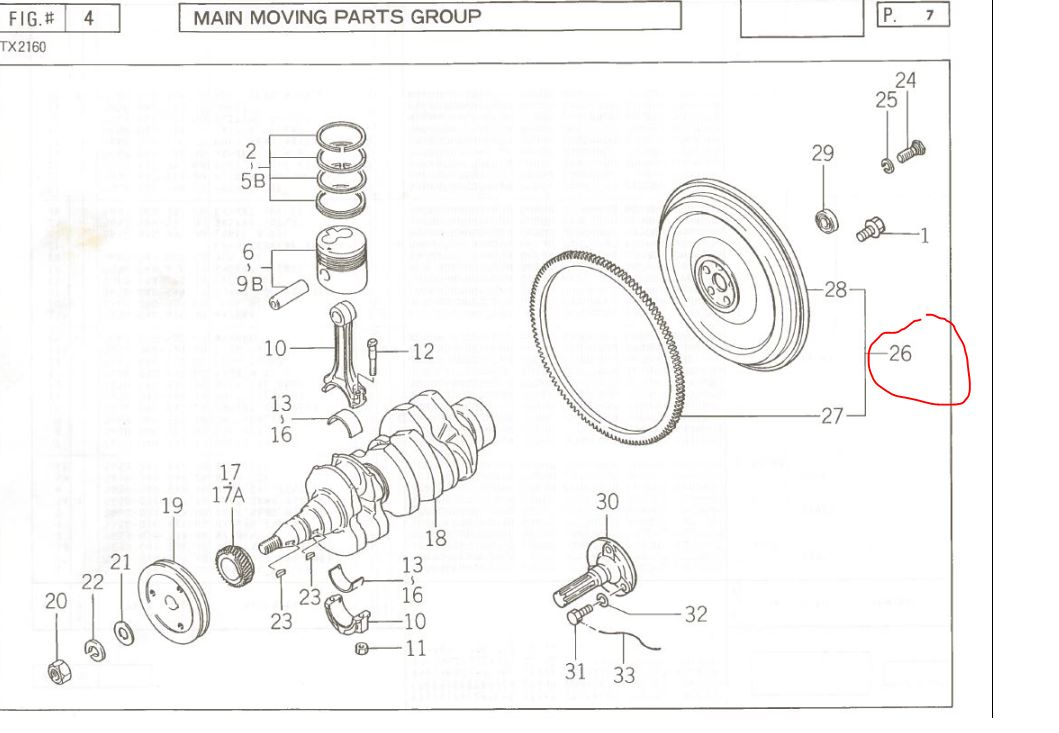Iseki 2160 Engine  2160 Fly Wheel and Ring Assembly
