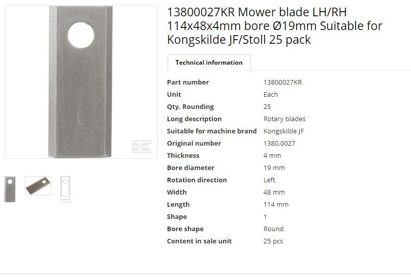 JF mower blade  LH/RH 114x48x4mm bore Ø19mm Pack of 25