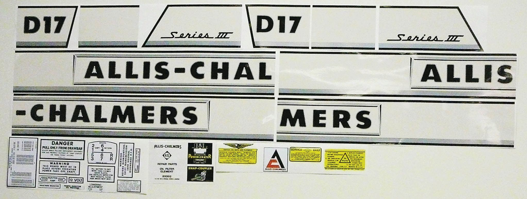ALLIS CHALMERS DECAL SET-ALLIS D17 SERIES 3 68955