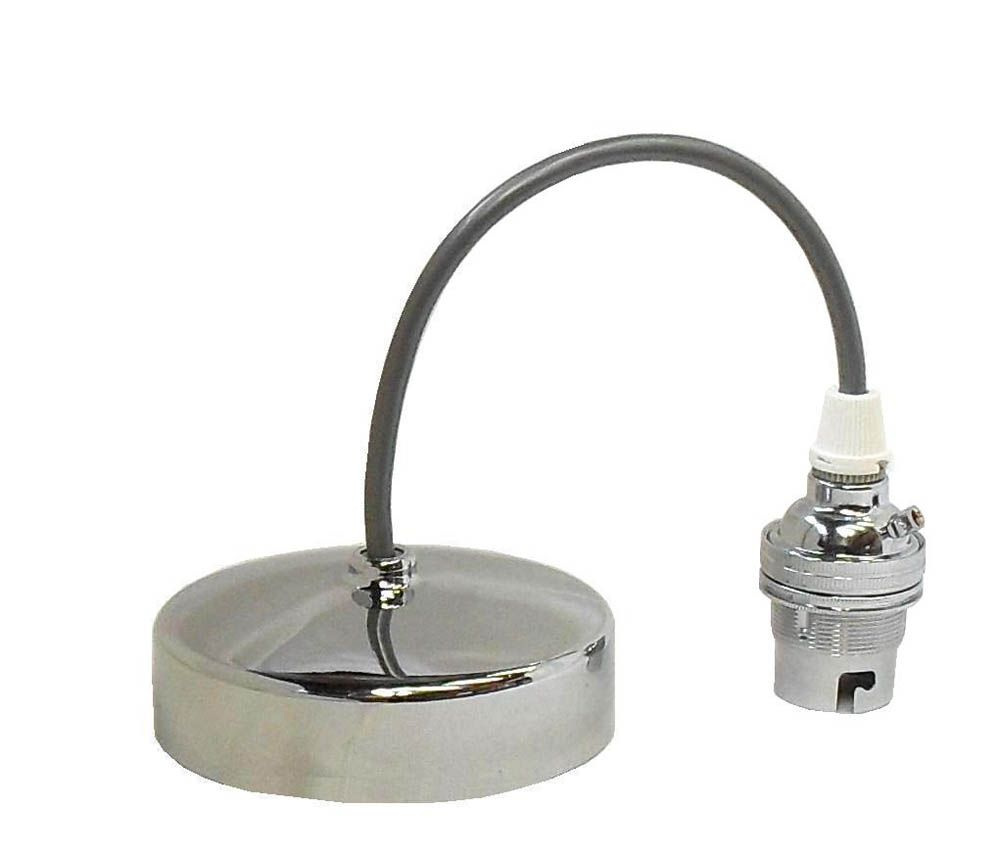 Pendant Set 9 inch Polished Chrome BC B22 (Silver Flex & Chrome Lampholder)