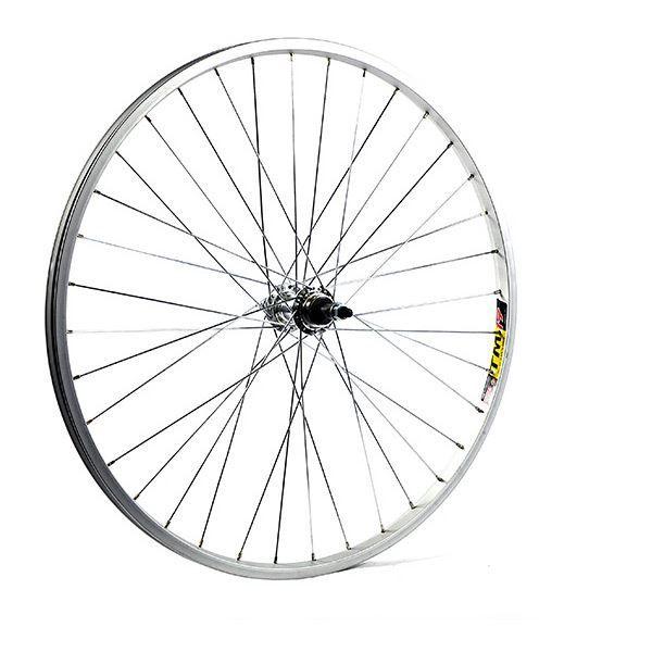 M Part 26 x 1.75 alloy solid axle for multi freewheel 135 mm silver rear wheel