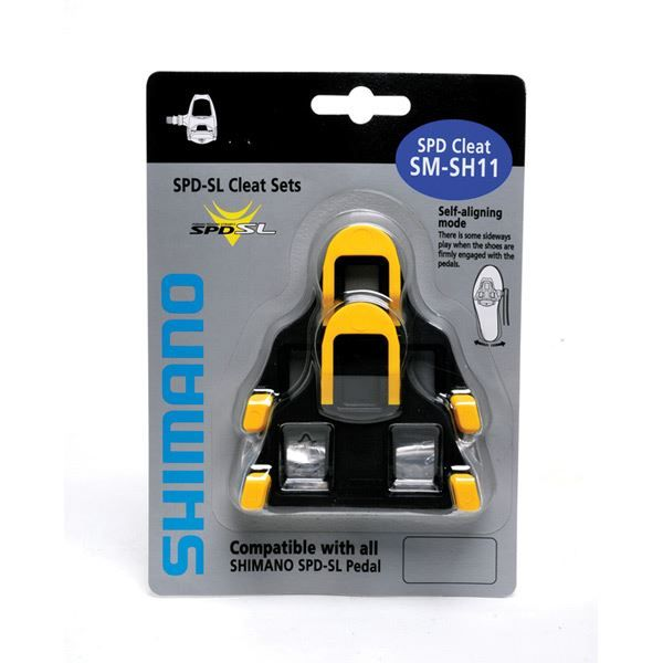 Shimano SH11 SPD SL Cleats in Yellow with 6 Degree Float