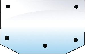 HURLIMANN GLASS-REAR-UPPER-5 HOLES 100707